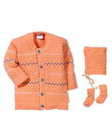 Babyhug Full Sleeves Front Open Winter Wear Set - Orange