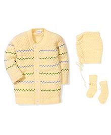 Babyhug Full Sleeves Front Open Winter Wear Set - Yellow