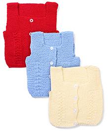 Babyhug Sleeveless Sweater Set Of 3 - Cream Sky Blue Red