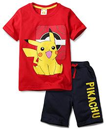 Babyhug Half Sleeves T-Shirt and Shorts Set Pikachu Print - Red Navy