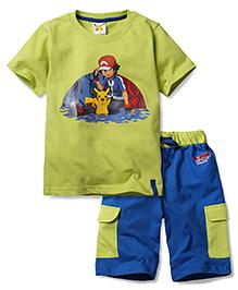 Babyhug Half Sleeves T-Shirt and Shorts Set Ash Pikachu Print - Green Blue