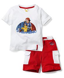 Babyhug Half Sleeves T-Shirt and Shorts Set Ash Pikachu Print - White and Red