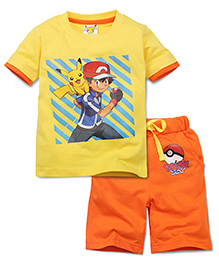 Babyhug Half Sleeves T-Shirt and Shorts Set Pokemon Print - Yellow Orange