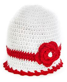 MayRa Knits Flower Cap - White