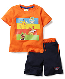 Babyhug Half Sleeves T-Shirt and Shorts Set Pokemons Print - Blue and Orange