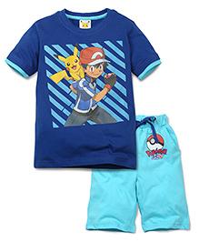Babyhug Half Sleeves T-Shirt and Shorts Set Pokemon Print - Blue
