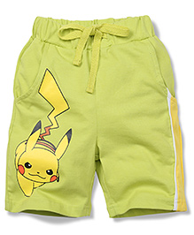 Babyhug Casual Shorts Pikachu Print - Green