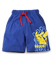 Babyhug Casual Shorts Pikachu Print - Blue