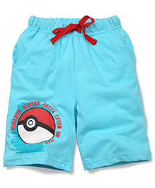 Babyhug Casual Shorts Pokemon Master Print - Blue