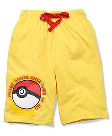 Babyhug Casual Shorts Pokemon Master Print - Yellow