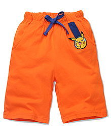 Babyhug Casual Shorts Pikachu Patch - Orange