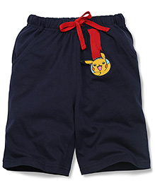 Babyhug Casual Shorts Pikachu Patch - Navy