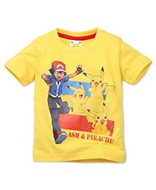 Babyhug Half Sleeves T-Shirt Ash Pikachu Print - Yellow