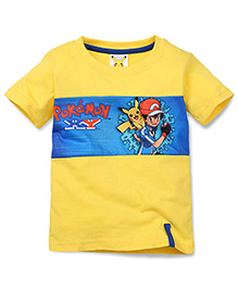 Babyhug Half Sleeves T-Shirt Ash Pikachu Print - Yellow
