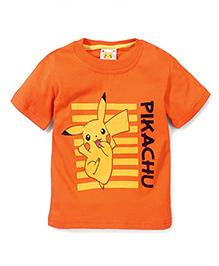 Babyhug Half Sleeves T-Shirt Pikachu Print - Orange