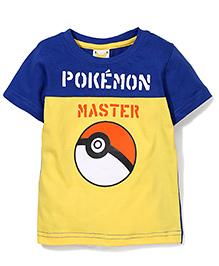 Babyhug Half Sleeves T-Shirt Pokemon Master Print - Yellow and Blue