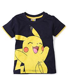 Babyhug Half Sleeves T-Shirt Pikachu Print - Navy