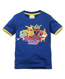 Babyhug Half Sleeves T-Shirt Pokemon Print - Blue