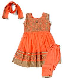 Babyhug Ethnic Kurta & Churidar Set - Orangish Peach