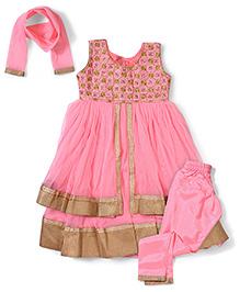 Babyhug Ethnic Kurta & Churidar Set - Pink