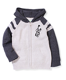 Fox Baby Hooded Jacket Striped - White Grey