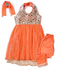 Babyhug Sequins Kurta And Churidar With Dupatta Rhinestone Work - Orange