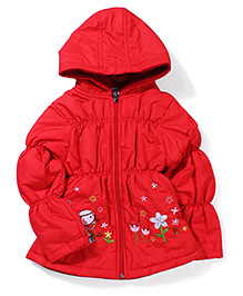 Peridot Hooded Jacket Floral Embroidery - Red