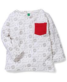 UCB Full Sleeves T-shirt Allover Print - White