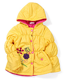 Peridot Hooded Jacket Embroidered Floral Patch - Yellow