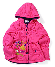 Peridot Hooded Jacket Embroidered Floral Patch - Pink