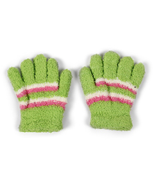 Gloves With Ribbed Cuffs - Green Pink White