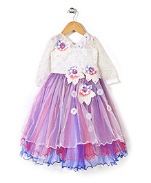 Bluebell Party Wear Frock Floral Applique - Multi Color