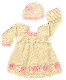 The Original Knit Dress With Cap & Booties - Off White & Pink