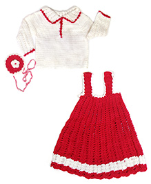 The Original Knit Dress With Sweater & Sling Bag - Red & White