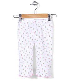 Babyhug Full Length Leggings Floral Print - White