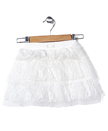 Babyhug Layered Net Skirt - White