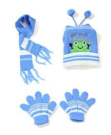 Babyhug Cap Gloves And Muffler Set Frog Patch - Blue