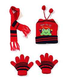 Babyhug Cap Gloves And Muffler Set Frog Patch - Red