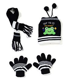 Babyhug Cap Gloves And Muffler Set Frog Patch - Black