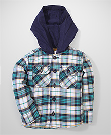 Baby League Hooded Shirt Small Checks - Green & Navy