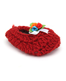 Buttercup From KnittingNani Booties With Satin Flowers - Dark Red