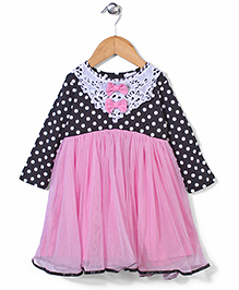 Baby League Full Sleeves Frock Bow Appliques - Black Pink