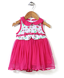 Baby League Sleeveless Frock Floral Print - Fuchsia