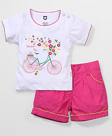 Baby League Short Sleeves Top And Shorts Bicycle Print - White Fuchsia