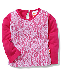 Baby League Full Sleeves Top Lace Pattern - Fuchsia