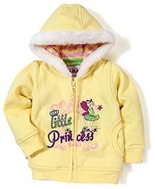 Baby League Hooded Sweat Jacket Princess Print - Yellow