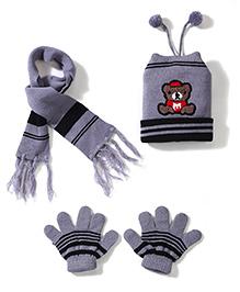 Babyhug Cap Gloves And Muffler Set Bear Patch - Grey Black