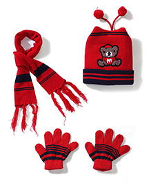 Babyhug Cap Gloves And Muffler Set Bear Patch - Red Black