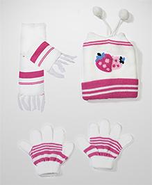 Babyhug Cap Gloves And Muffler Set Strawberry Design - White