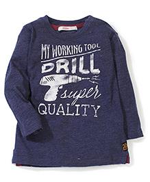 Fox Baby Full Sleeves T-Shirt Caption Print - Blue